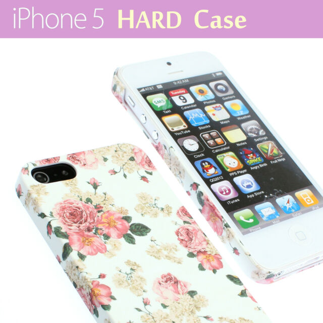 White with Flower Floral Pattern Hard Back Case Cover for iPhone 5 / 5s + Film