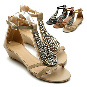 NEW-Womens-Shoes-Gladiator-Flats-Silver-Beads-Accent-Wedge-Multi-Colored-Sandal