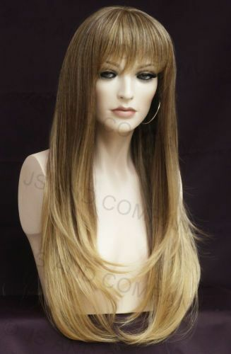 Human Hair Blend Wig Long Straight Face Frame Blonde Brown mix Heat safe wil T85
