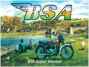 BSA-A10-Super-Rocket-Motorcycle-Classic-Vintage-Motorbike-Small-Metal-Tin-Sign