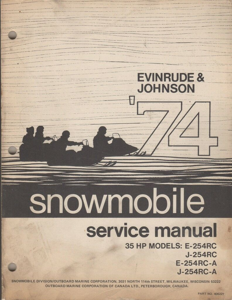 1974 EVINRUDE JOHNSON SNOWMOBILE 35 HP SERVICE USED