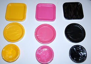Square-round-paper-plates-bowls-party-tableware-birthday-wedding-20-colours
