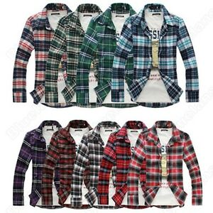 Mens-Luxury-Style-Casual-Dress-Slim-Fit-Long-Sleeve-Check-Plaid-Red-Blue-Shirts