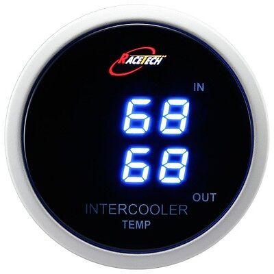 52mm Digital Dual Air Intake In/Out Inter cooler Temp Gauge Meter Blue LED C F