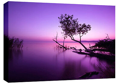 Extra Large Purple Lake Box Canvas Wall Art Picture Scenic 4ft wide A0 3cm frame