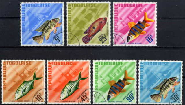 TOGO 1967 FISH AND BOATS COMPLETE SET OF SEVEN STAMPS!