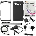 Gtmax 7 Pcs Bundle for HTC Droid 6350 Incredible 2 - Includes: Rubberized Hard Snap on Cover Case (Black) + Clear LCD Screen Protector + Home Wall and Car Charger + Micro USB Data Cable + Handsfree Earbud with Mic + Stylus Pen (Free Gift Bluemall LCD...