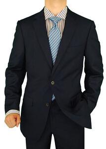 Salvatore-Exte-Wool-Feel-Mens-Suit-2Button-Jacket-Flat-Front-Pants-DC-D003-Navy