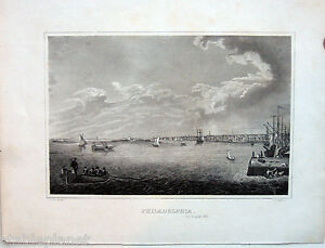 c1830 PHILADELPHIA * HARBOR VIEW Original Steelplate Engraving