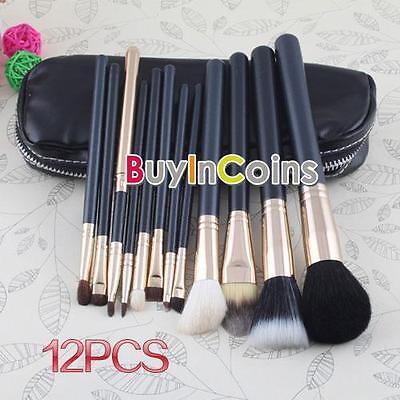 12 PCs New Professional Makeup Brush Cosmetic Make Up Set With 2 Case Bag Kit