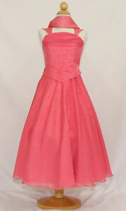 New teen girl coral red pageant wedding easter party formal dress 4 6