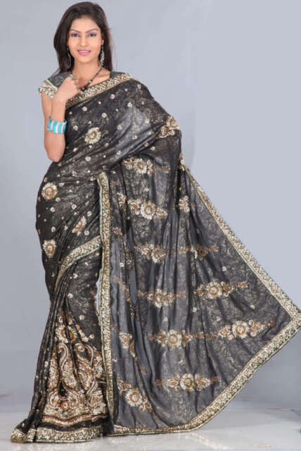Black Bridal Partywear Sequin Embroidery Sari Saree fabric drape venue decor