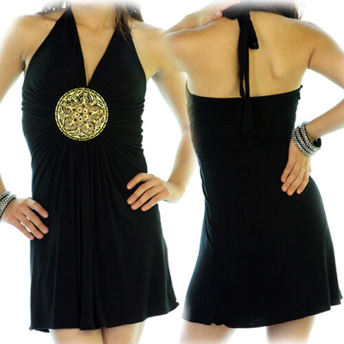 NEW Womens BLACK Deep V-Neck HALTER GOLD Metal Medal Clubwear Mini DRESS S-M-L