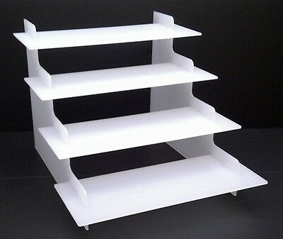 4 STEP WHITE ACRYLIC DISPLAY PRODUCT RETAIL DISPLAY COUNTER STAND PERSPEX