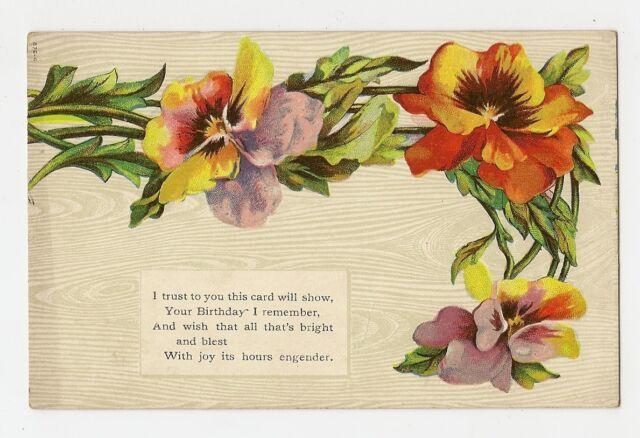 ANTIQUE BIRTHDAY GREETINGS POSTCARD ORANGE YELLOW PURPLE COLORED PANSY FLOWERS