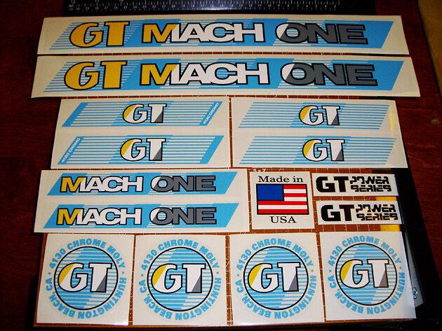 1987   88 GT BMX Mach One, restoration decal set on clear LIGHT blueeeeeeeeE, RAD