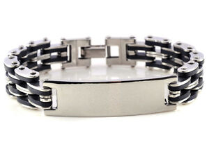 New-Stainless-steel-men-039-s-Silver-Bangle-Chain-Rubber-Link-Cool-ID-Gift-Bracelet