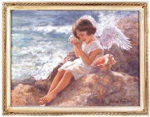 Spiritual-Wall-Decor-Bless-Home-Delicate-Angel-Wings-Sea-Shells-Seaside-Print