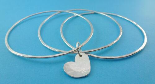 Silver Heart Charm Bangles Sterling Solid Flat Hammered Bracelets Bangle Set
