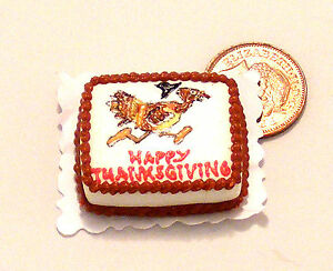1-12-Scale-Oblong-Thanksgiving-Cake-Dolls-Miniature-House-Kitchen-Accessory-SC11