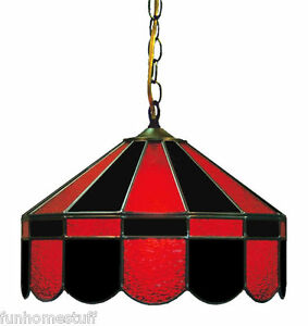 BLACK Amp RED 16 STAINED GLASS HANGING PUB LIGHT FIXTURE