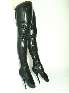 Black Or Red Latex Rubber Ballet Boots Size 10 16 Heel 8 5 39 Poland Fs1027 Ebay