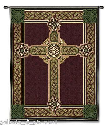 "Celtic Cross IRISH Wall Tapestry 53""x 40"" Green  burgundy Ireland Inspirational"