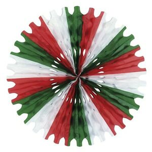 25-034-RED-WHITE-AND-GREEN-HONEYCOMB-TISSUE-FAN-HANGING-DECOR-CHRISTMAS-COLOUR