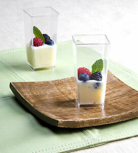 3 Oz Square Tall Cube Plastic Mini Shot Glass Dessert
