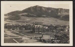 REAL-PHOTO-Postcard-SUNDANCE-Wyoming-WY-Town-Bird-039-s-Eye-Aerial-view-1920-039-s