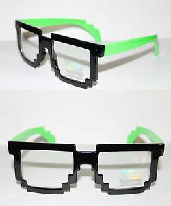 Tetris-Square-Pixel-Shape-Mens-Glasses-Geek-Retro-Unique-Black-Green-Clear-lens