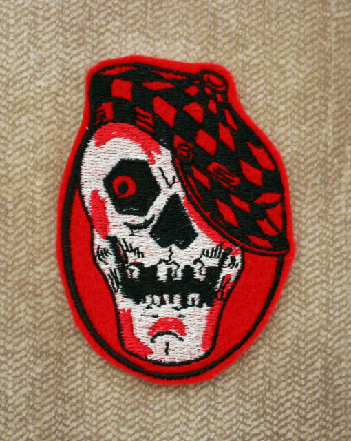 Vintage Style Felt Skull Patch Checkered Racing Cap Halloween Red Eye