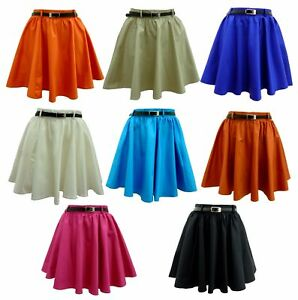 NEW-WOMENS-LADIES-SKATER-SKIRT-10-COLOUR-SIZE-8-TO-14