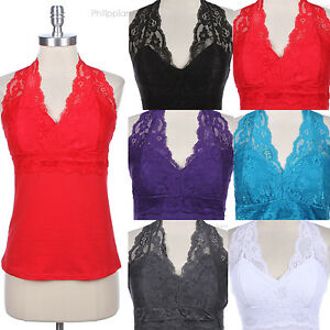 PLUS-SIZE-Sexy-Floral-Lace-Halter-V-Neck-Sleeveless-Tank-Top-Camisole-Cotton