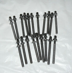"""20 NEW Chrome Drum Tension Rods 52mm/2"""" Part for Tom Snare Build Repair Restore"""
