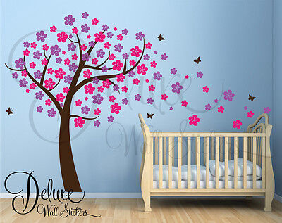 LARGE TREE BLOWING CHERRY BLOSSOM WALL ART STICKER DECAL BABY NURSERY DECORATION