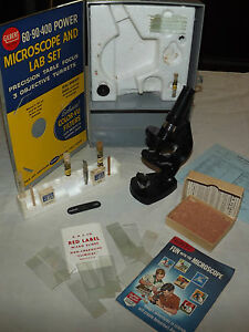 VINTAGE-TOY-1958-GILBERT-MICROSCOPE-AND-LAB-SET-13024
