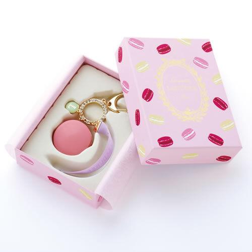 New LADUREE Keychain Ring Pink Macaron Rhinestone Charm in Gift Box MARK'S