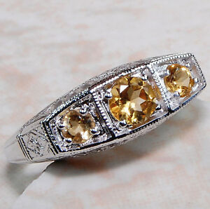 Natural-Citrine-925-Solid-Sterling-Silver-Edwardian-Style-Filigree-Ring-Sz-5-5