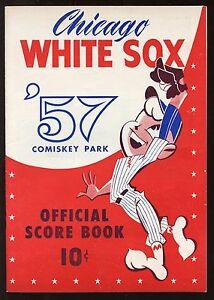 1957 MLB Scorebook / Program Boston Red Sox at Chicago White Sox EXMT+