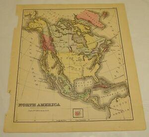 1880 Warren Antique Color Map of NORTH AMERICA