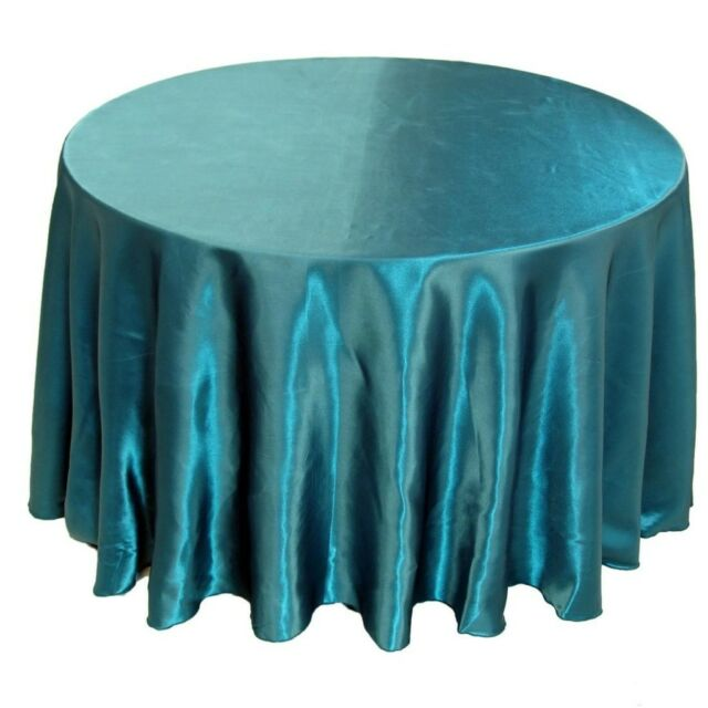 "12 Pack 132"" Round Wedding Satin Tablecloths 30 Colors"