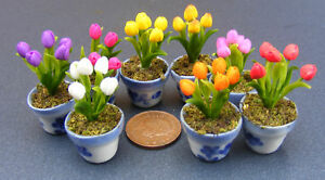 1-12-Scale-Handmade-Dolls-House-Miniature-Tulip-Flowers-In-A-Pot-Accessory