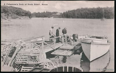 SOUTH BRISTOL MAINE ME Fisherman's Dock Vtg Postcard