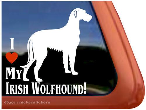I LOVE MY IRISH WOLFHOUND ~ High Quality Vinyl Dog Window Sticker Decal
