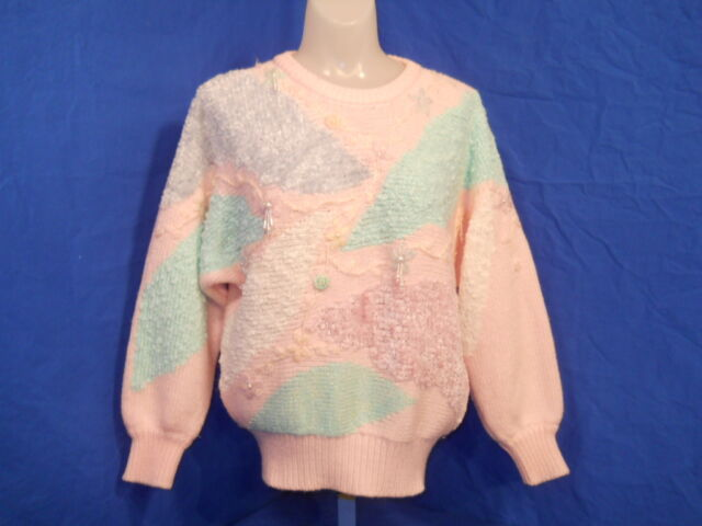 vintage 90S UGLY JACLYN SMITH PASTEL PINK BLUE FLOWERED SHINY SWEATER SMALL S