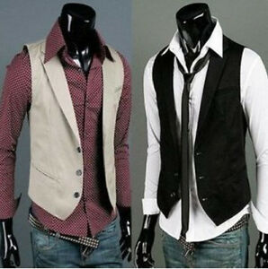 NWT-Mens-Stylish-Casual-V-neck-Vests-Fit-Slim-Waistcoat-3-Sizes-free-ship-907