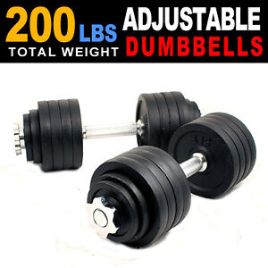 New-One-200-lbs-Adjustable-Weight-Dumbbells-Kit-Set-100-X-2PCS-Dumbbell-Plate