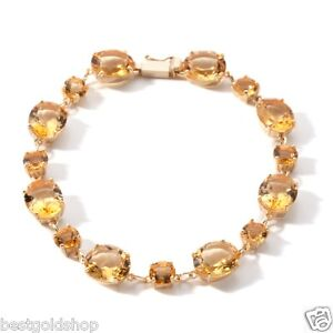 Technibond-Citrine-Gemstone-Tennis-Bracelet-14K-Yellow-Gold-Clad-Silver-925