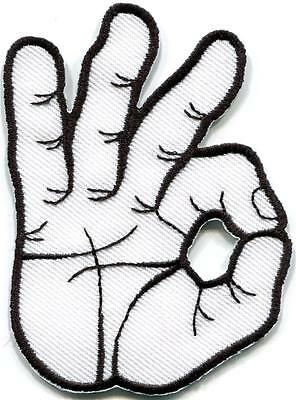 OK okay hand sign signal logo retro embroidered applique iron-on patch S-795
